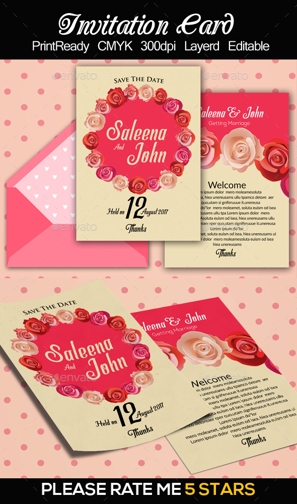 Wedding Invitation Card Template - Cards & Invites Print Templates