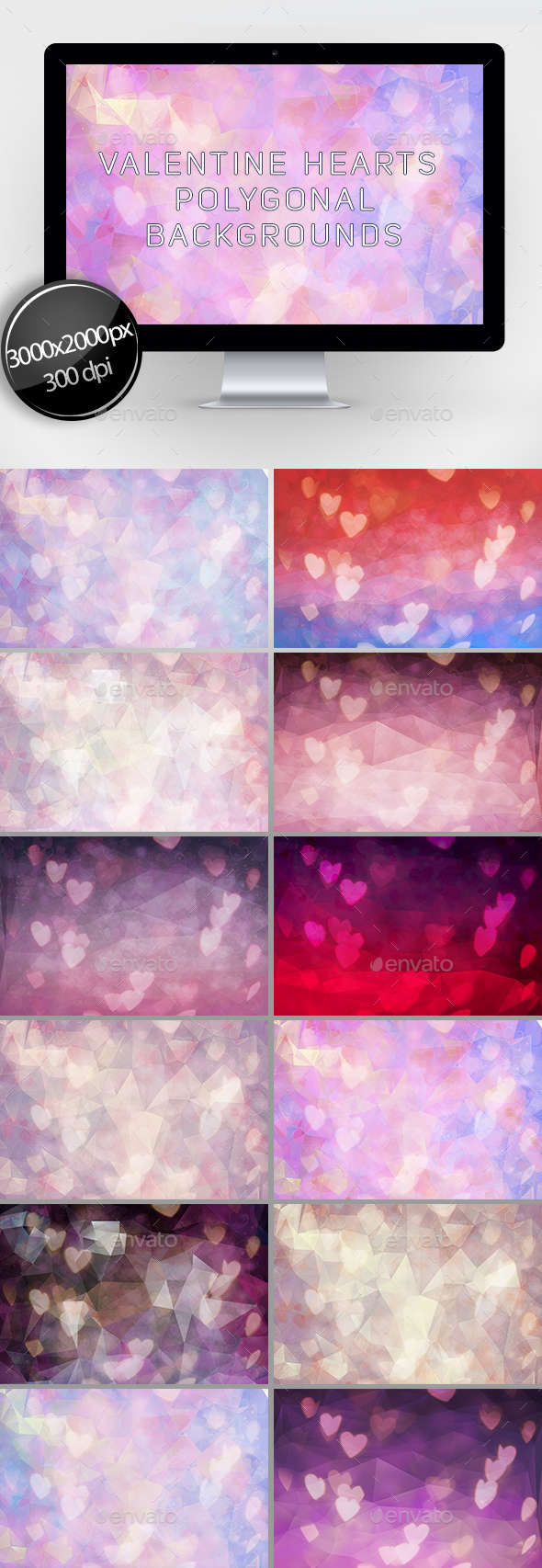 Valentine Hearts Polygonal Backgrounds - Abstract Backgrounds