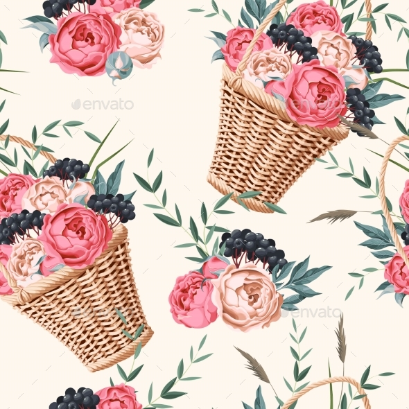 Basket with Flowers Seamless - Backgrounds Decorative