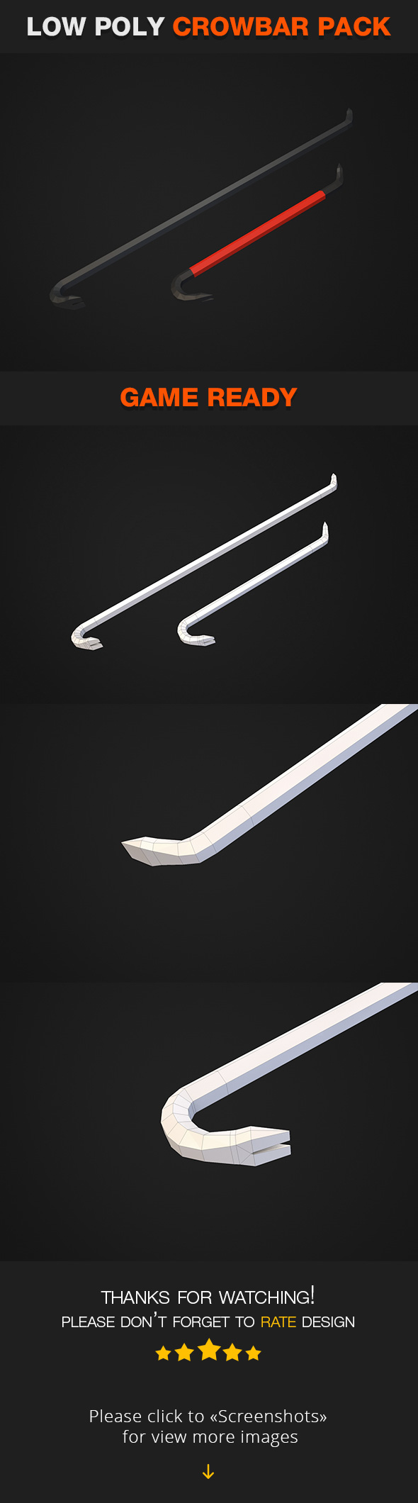 Low Poly Crowbar Pack - 3DOcean Item for Sale