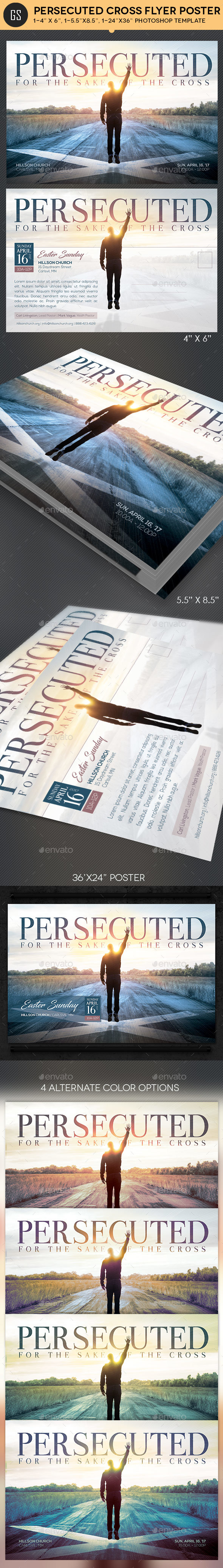 Persecuted Cross Flyer Poster Template - Church Flyers