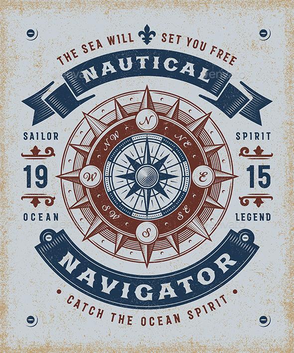 Vintage Nautical Navigator Typography - Decorative Symbols Decorative
