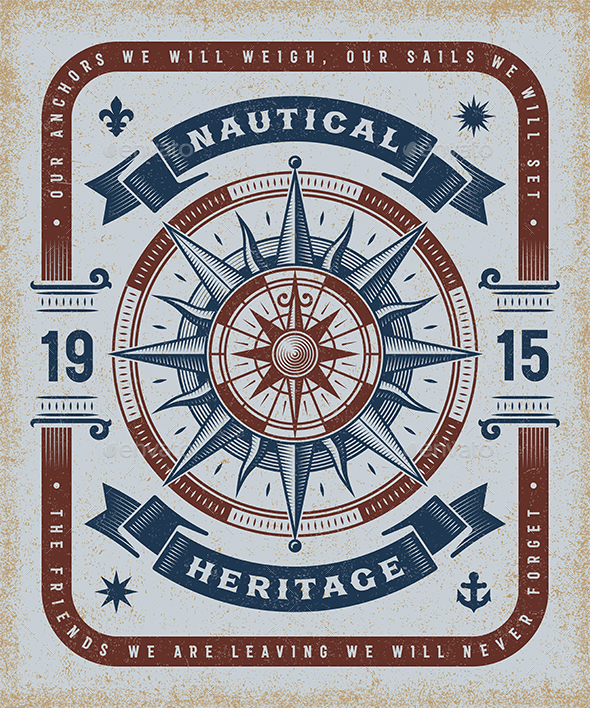 Vintage Nautical Heritage Typography - Decorative Symbols Decorative