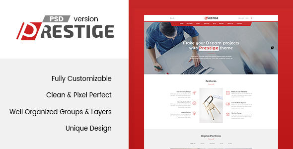 Prestige – Single Page PSD Template