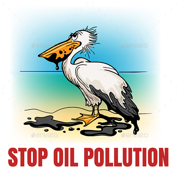 Stop Oil Pollution Ecological Emblem - Conceptual Vectors