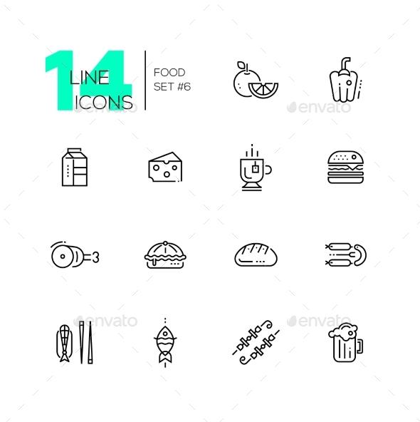 Kinds of Food Line Icons Set - Food Objects