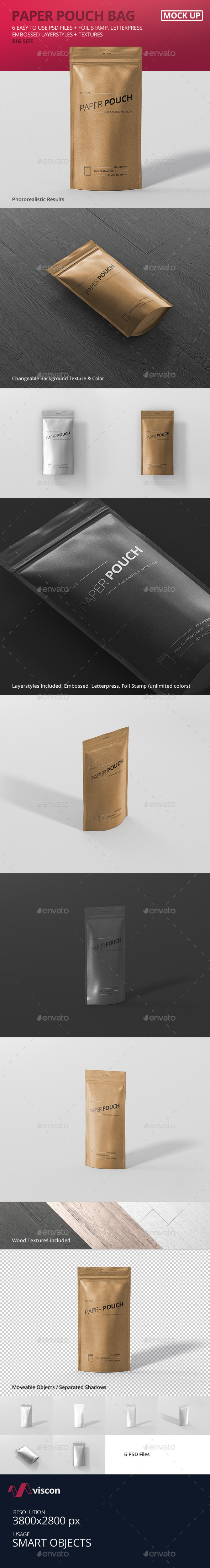 Paper Pouch Bag Mockup Big Size - Food and Drink Packaging