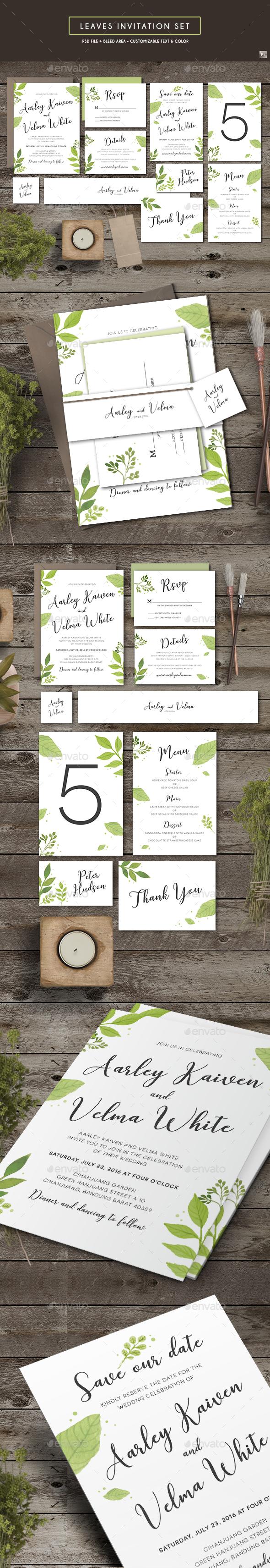 Leaves Invitation Set - Weddings Cards & Invites