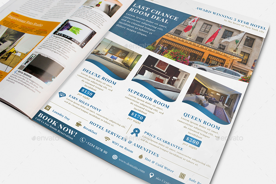The royal hotel flyer templates by arvaone graphicriver for Hotel brochure template