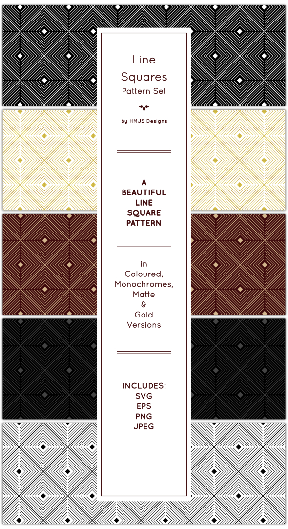 Line Squares Pattern Set - Textures / Fills / Patterns Illustrator
