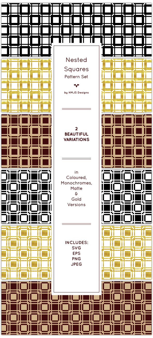 Nested Squares Pattern Set - Textures / Fills / Patterns Illustrator