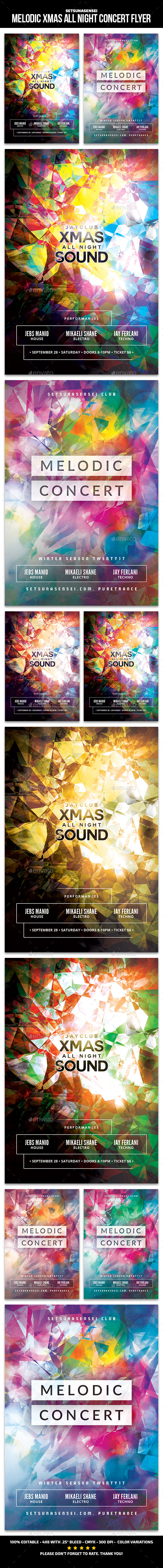 Melodic Xmas All Night Concert Flyer - Clubs & Parties Events