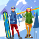 Snowboarders Winter Landscape - GraphicRiver Item for Sale