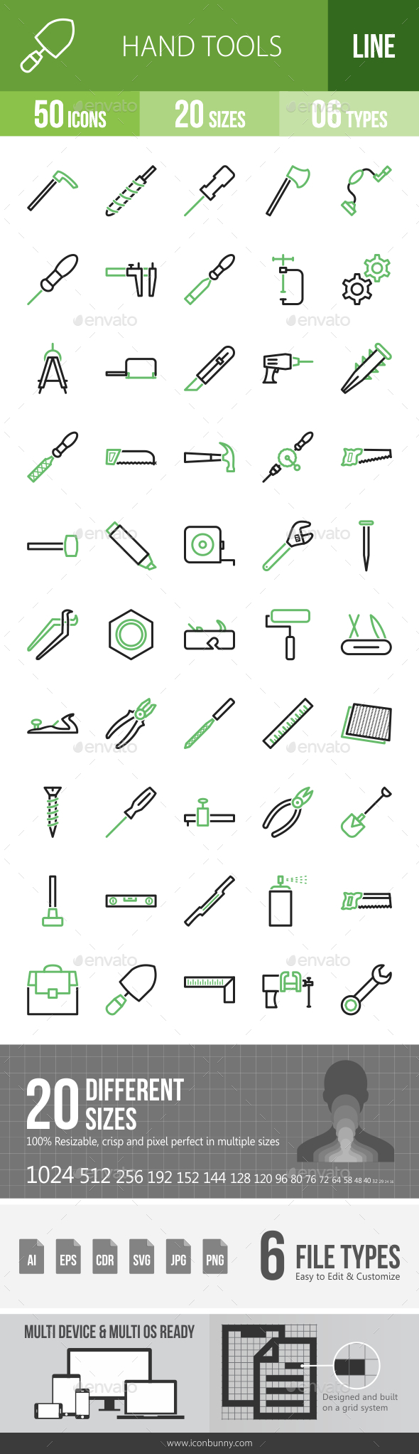Hand Tools Line Green & Black Icons - Icons
