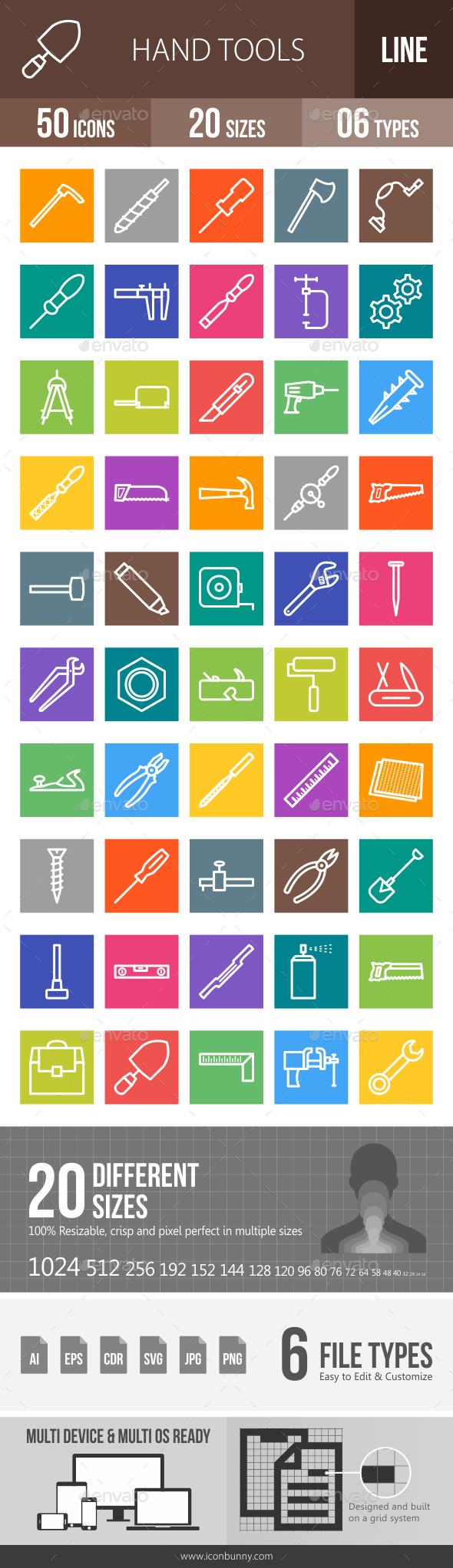 Hand Tools Line Multicolor Icons - Icons