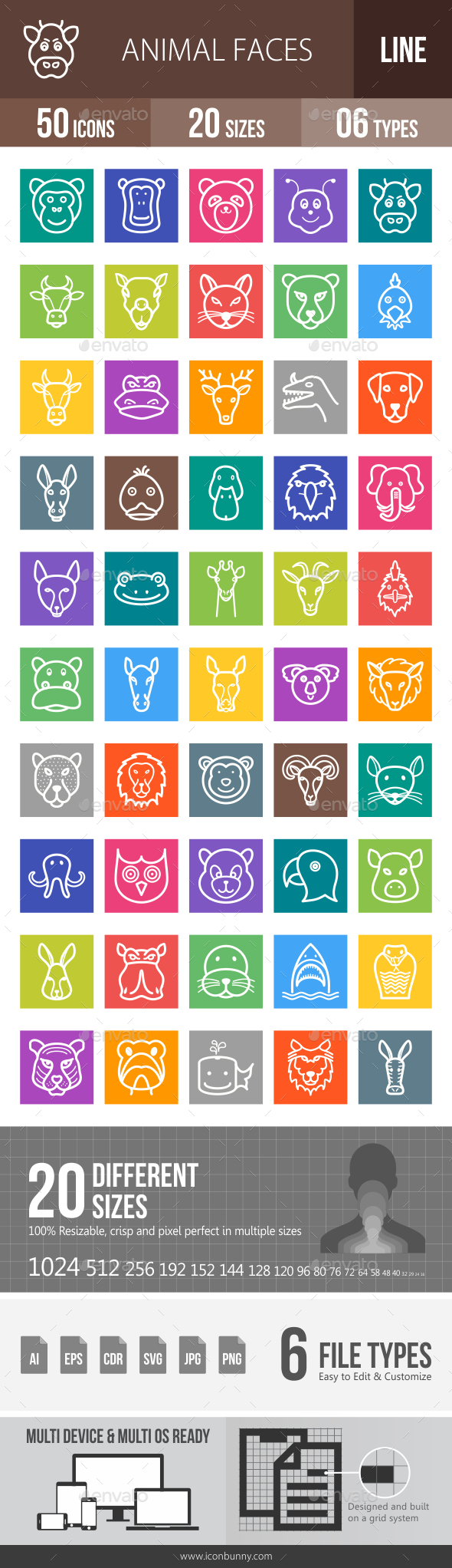 Animal Faces Line Multicolor Icons - Icons
