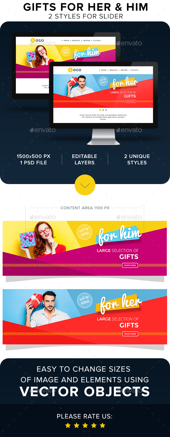 Gifts For Her & Him Sliders - Sliders & Features Web Elements