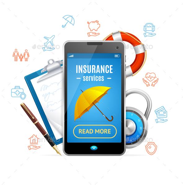 Concept Insurance Support Service. Vector - Conceptual Vectors