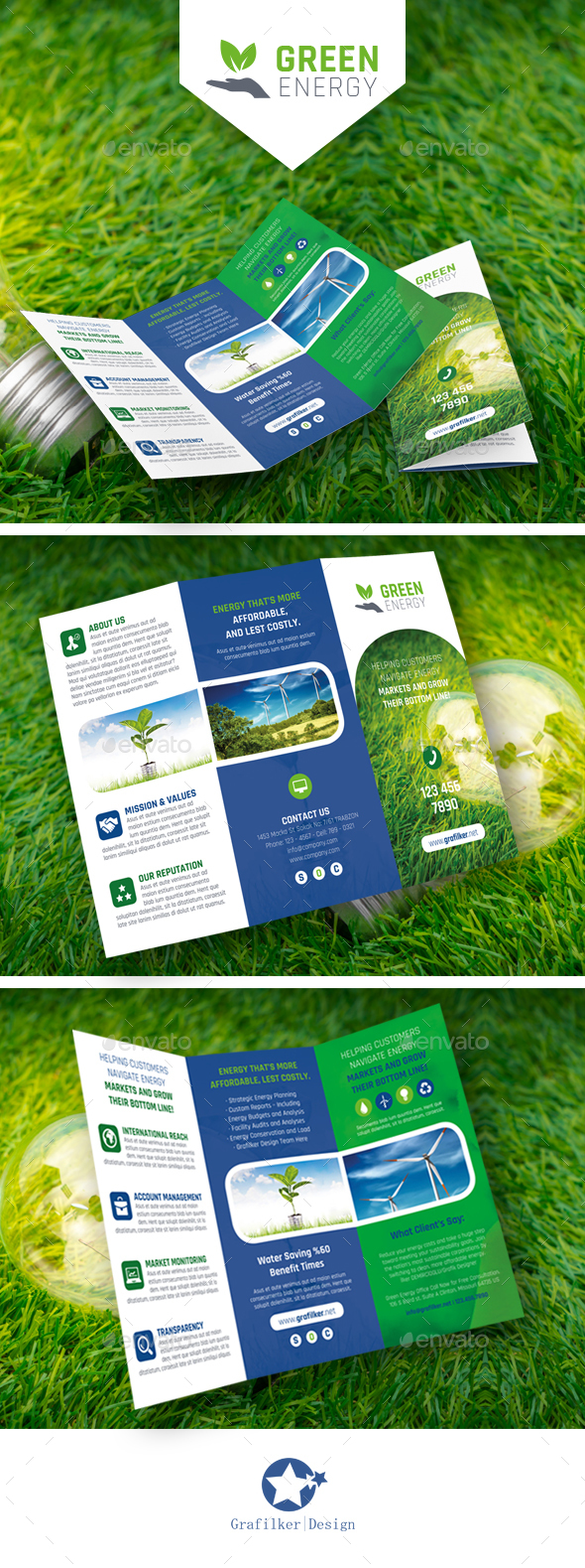 Green Energy Tri-Fold Templates - Brochures Print Templates