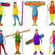 People with Snowboard and Skis - GraphicRiver Item for Sale