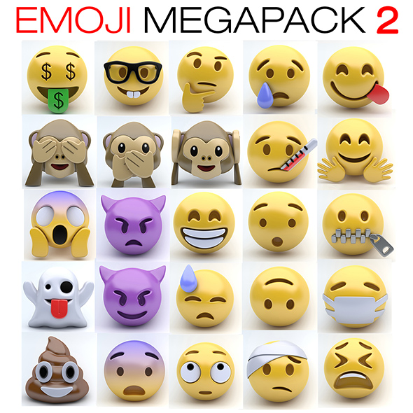 Emoji MEGAPACK 2 - 3DOcean Item for Sale