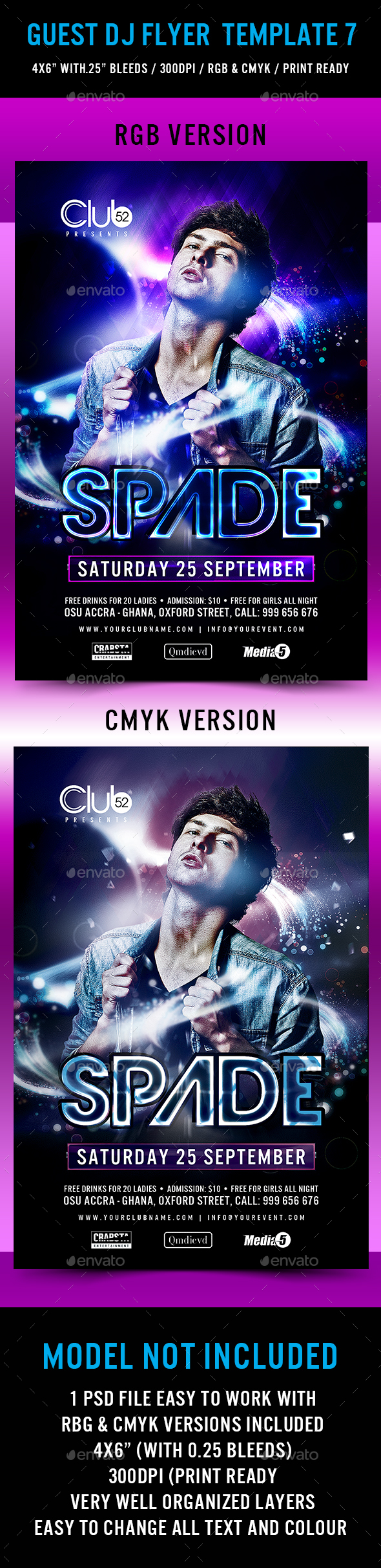 Guest DJ Flyer Template 7 - Clubs & Parties Events