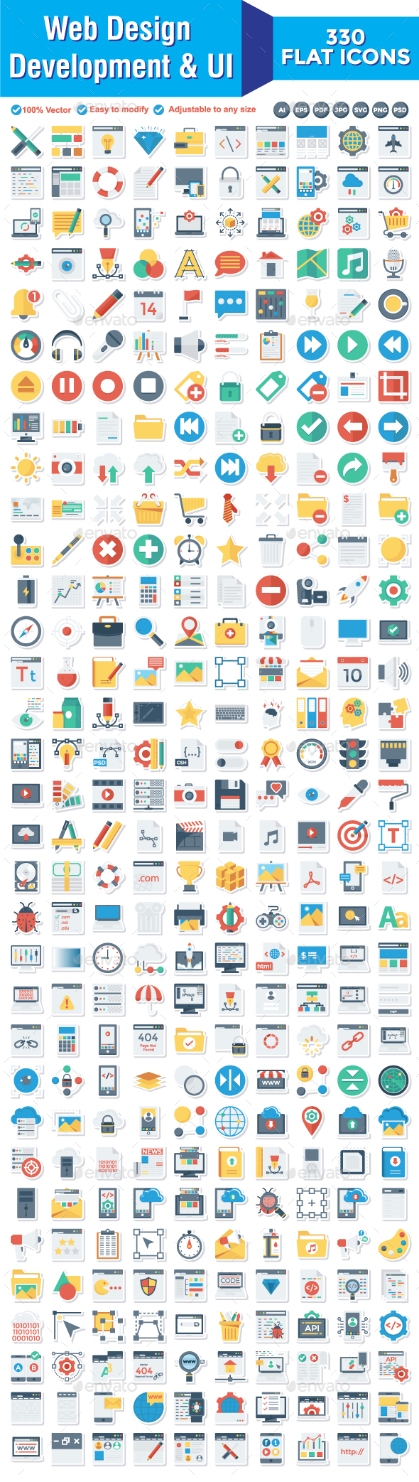 330 Web Design Development & UI  Paper icons - Web Icons