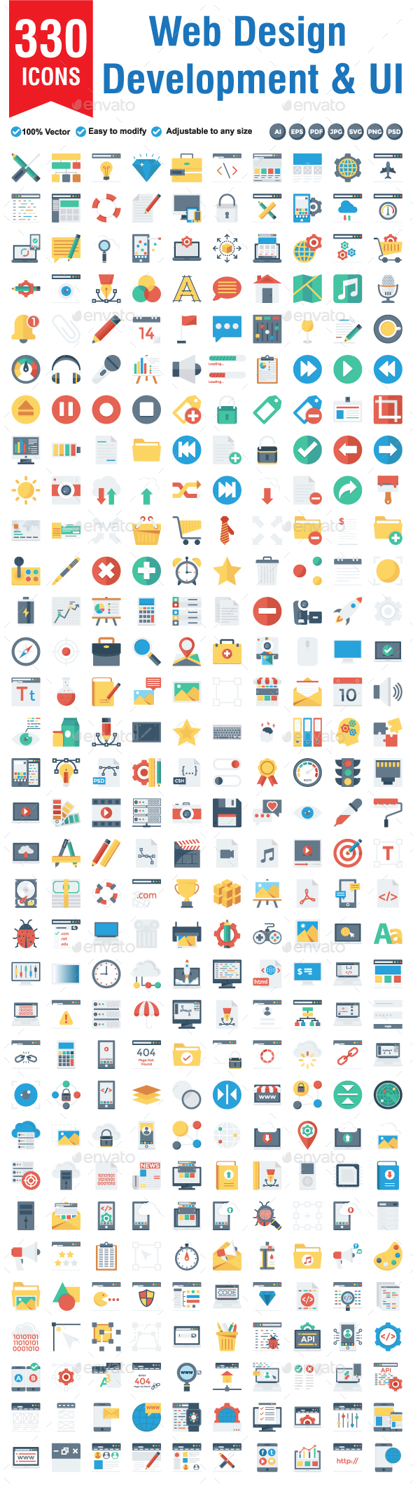 330 Web Design Development & UI  Flat icon - Web Icons