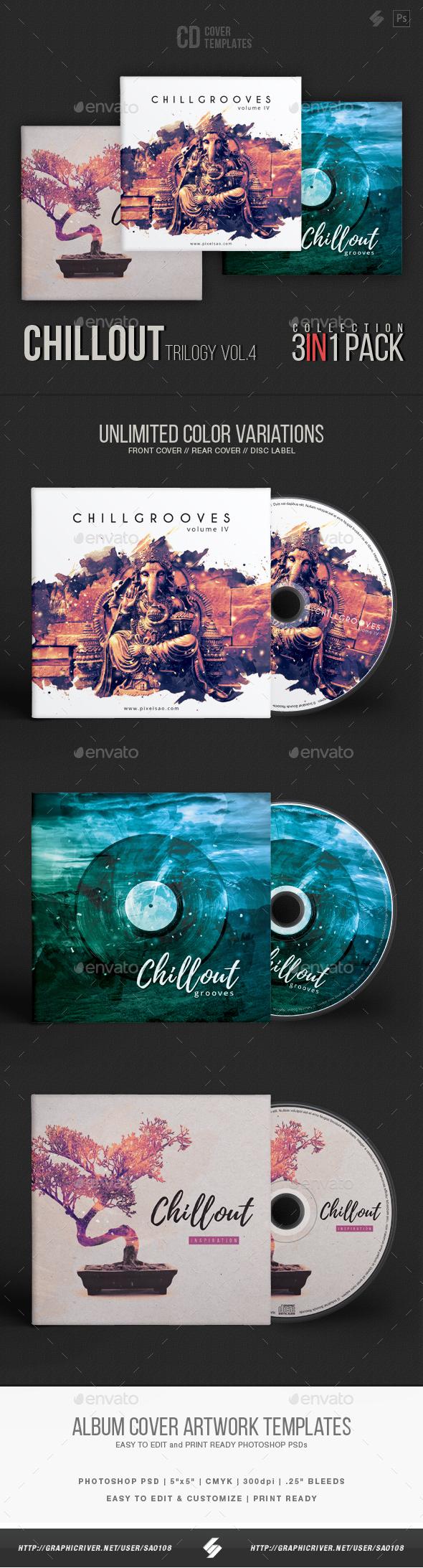 Chillout Trilogy vol.4 - CD Cover Templates Bundle - CD & DVD Artwork Print Templates