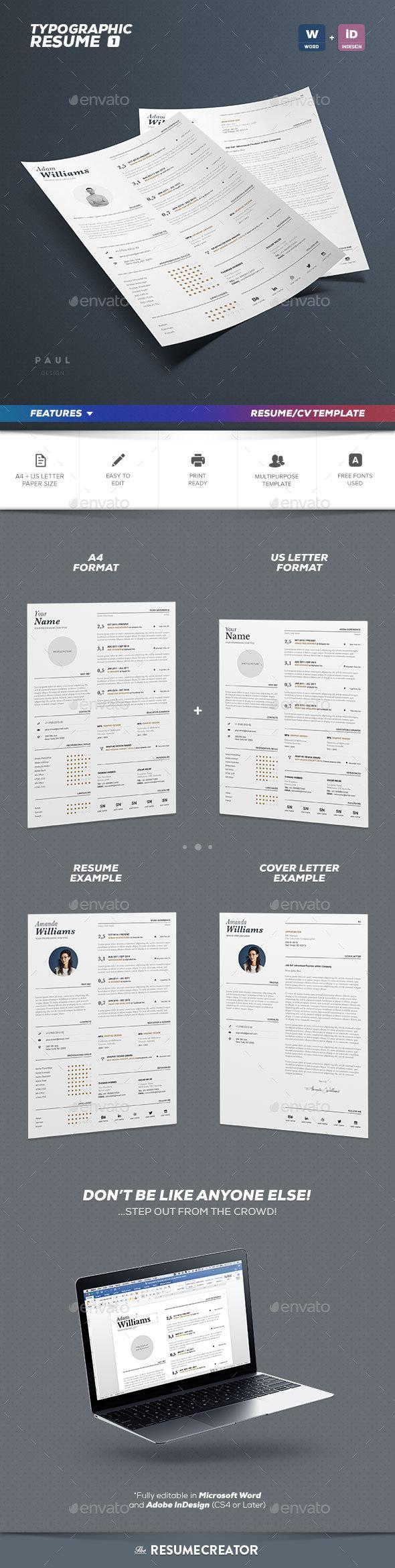 Typographic Resume Vol. 1 - Resumes Stationery