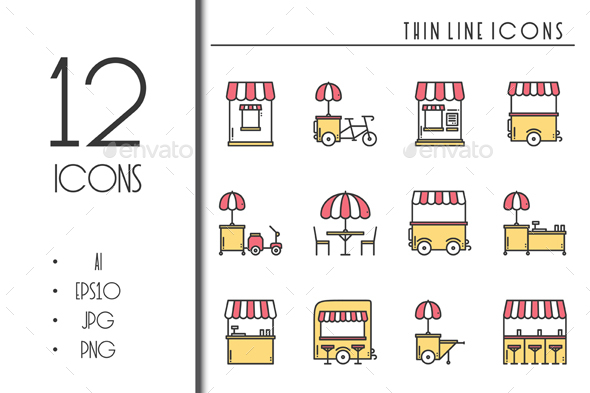 Street Food Retail Icons. Food Truck - Icons