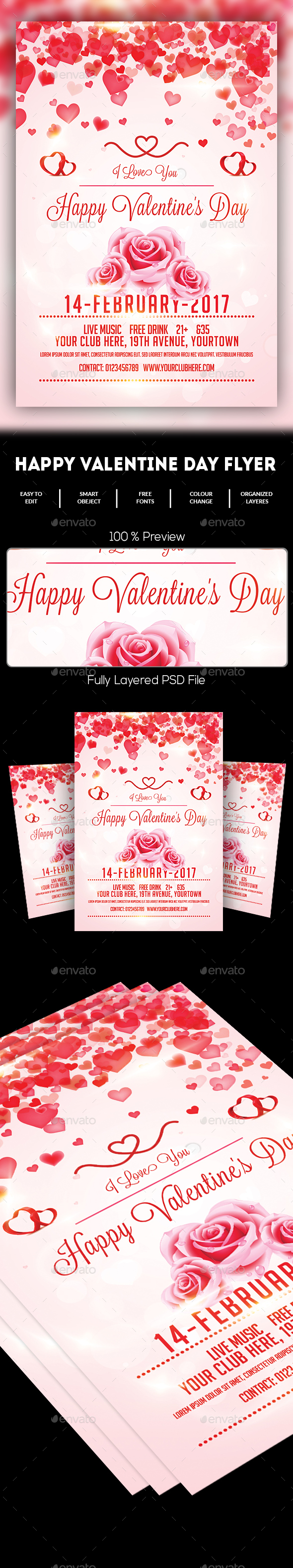 Valentine's Day Flyer Template - Events Flyers
