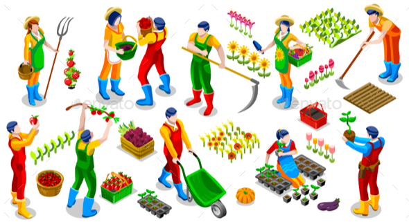 Isometric Farmer People 3D Icon Collection Vector Illustration - Vectors