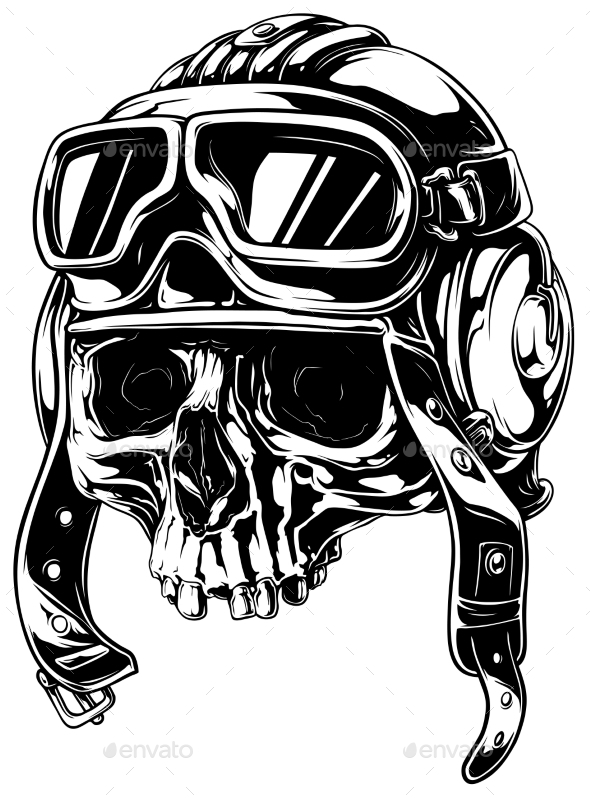 Graphic Detailed Old Skull in Retro Pilot Helmet - Tattoos Vectors