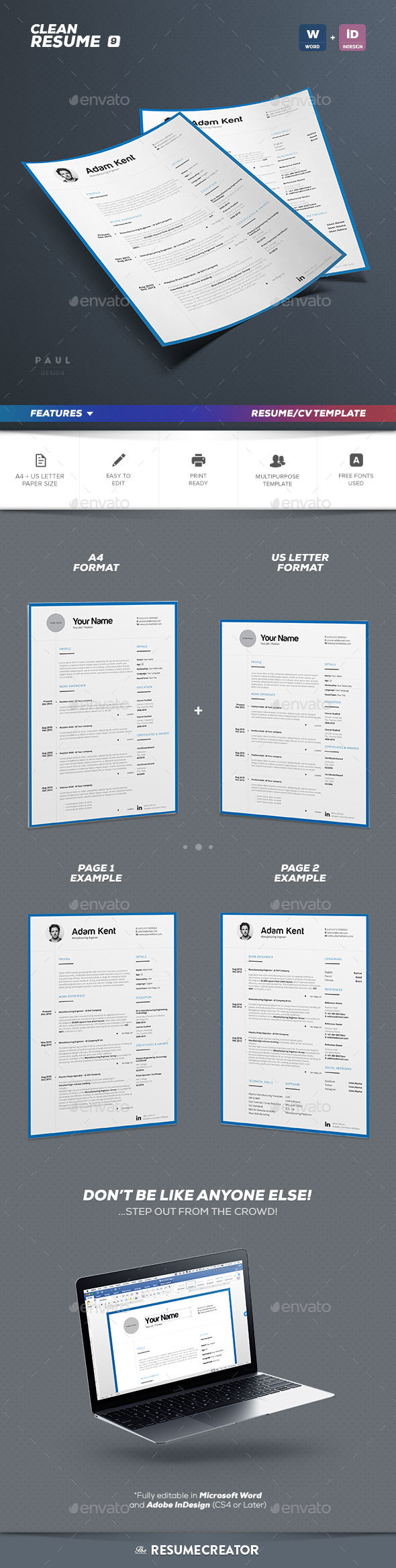 clean 2 pages resume vol 9 by paolo6180 graphicriver