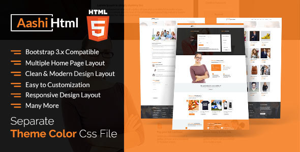 Aashi Multipurpose Responsive HTML Template - Business Corporate