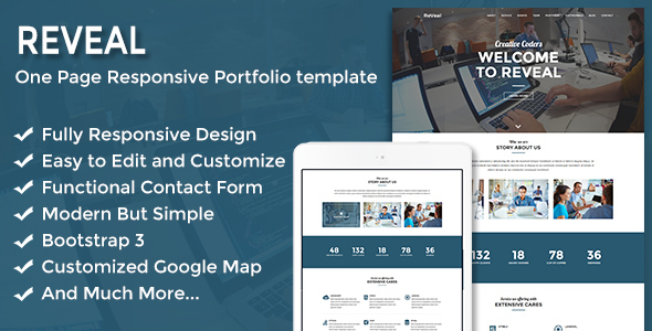 Reveal – Responsive One Page Portfolio Template