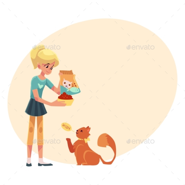Teenage Girl Giving Food To Her Fluffy Red Cat - People Characters