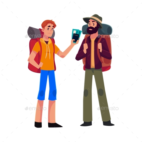 Two Man Travelling, Hitchhiking with Backpacks - People Characters