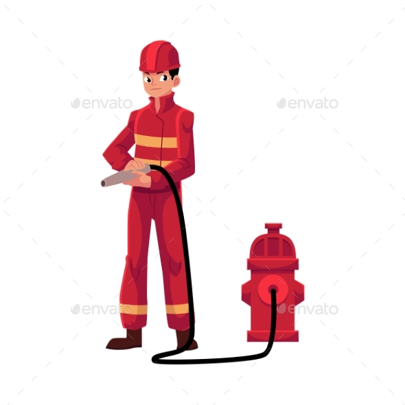 Fireman in Red Protective Suit - People Characters