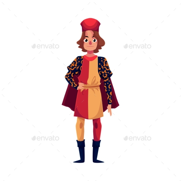 Full Length Portrait of Italian Man in Renaissance - People Characters
