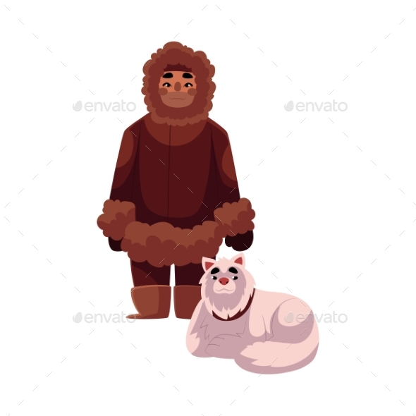 Eskimo Inuit Man in Warm Winter Clothes - People Characters