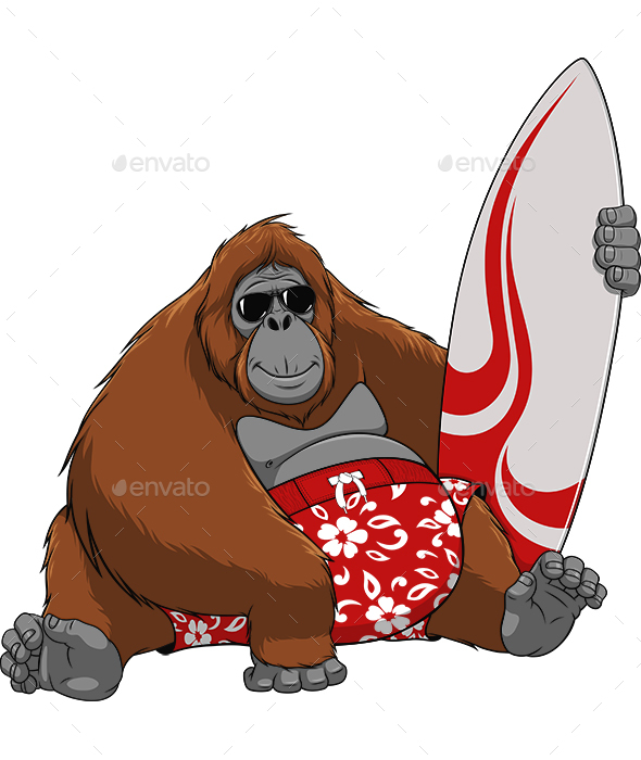 Monkey Surfer - Animals Characters