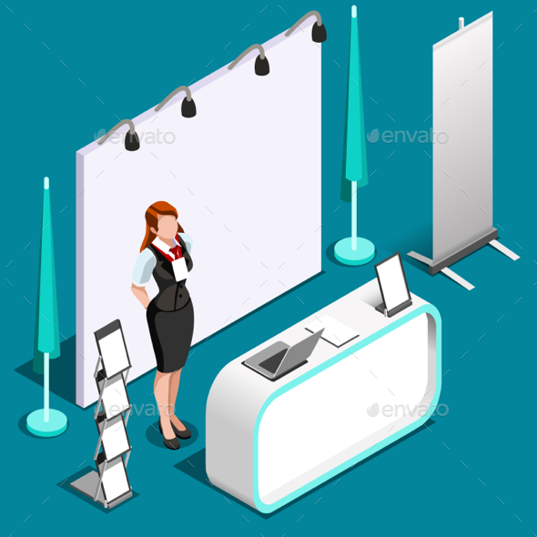 Exhibition Stand Design Illustrator : Exhibition d booth standing person isometric vector