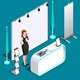 Exhibition 3D Booth Standing Person Isometric Vector Illustration - GraphicRiver Item for Sale