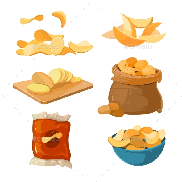 Salty Fried Potato Chips Snacks Vector Set - Food Objects