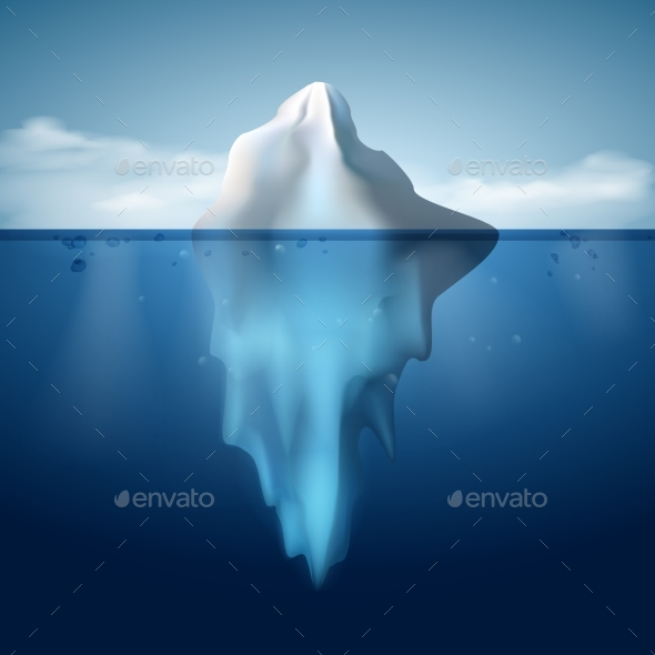 Ice Berg on Water Concept Vector Background - Landscapes Nature