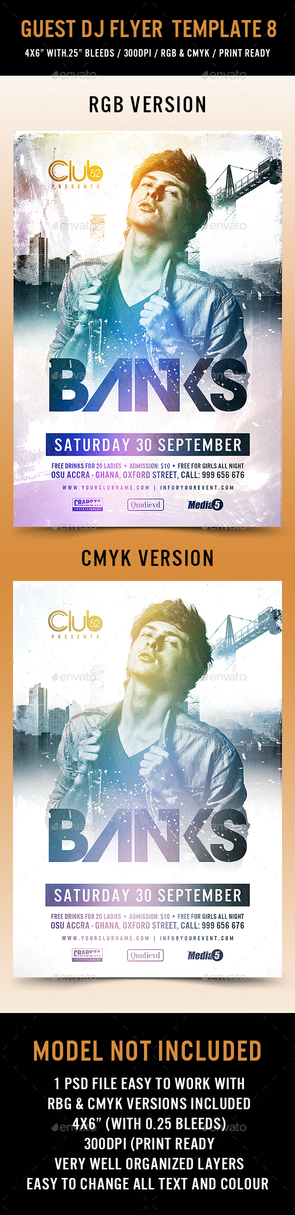 Guest Dj Flyer Template 8 - Clubs & Parties Events