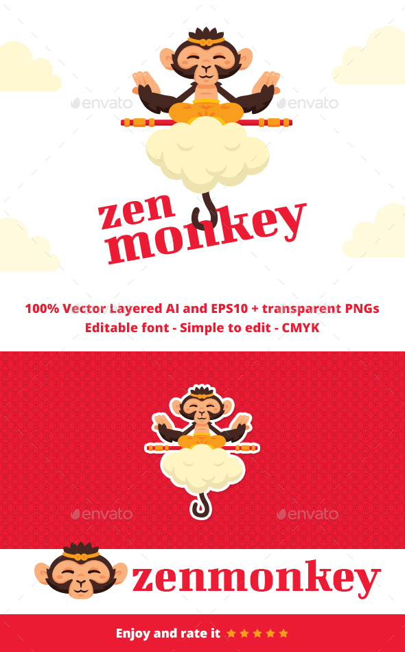 Zen Monkey - Animals Logo Templates