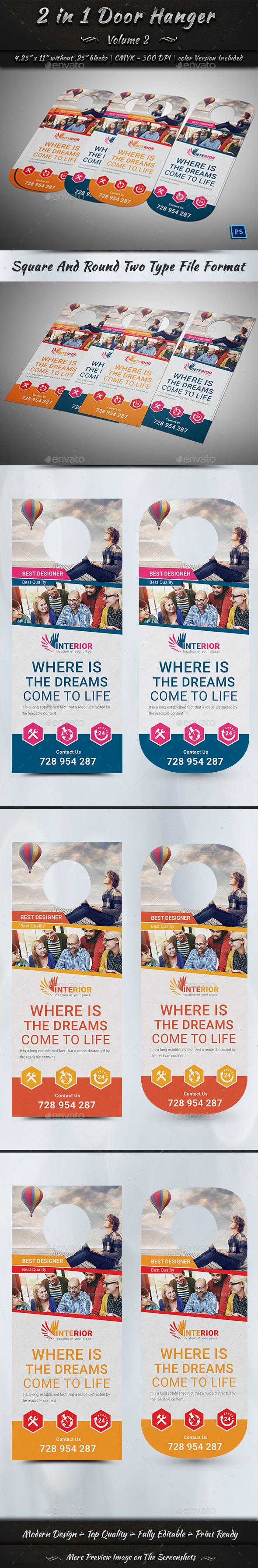 2 in 1 Door Hanger   Volume 2 - Miscellaneous Print Templates